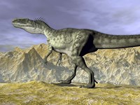 Monolophosaurus dinosaur walking on rocky terrain near mountain by Elena Duvernay - various sizes