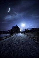 A road in a park at night against moon and moody sky, Moscow, Russia by Evgeny Kuklev - various sizes