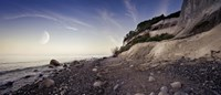 Tranquil seaside and Mons Klint cliffs against rising moon, Denmark by Evgeny Kuklev - various sizes