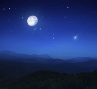 Mountain range on a misty night with moon, starry sky and falling meteorite by Evgeny Kuklev - various sizes