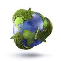 3D Rendering of planet Earth surrounded by grassy recycle symbol Fine Art Print