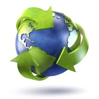 3D Rendering of planet Earth surrounded by the recycle symbol by Evgeny Kuklev - various sizes