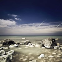 Big boulders in the sea, Liselund Slotspark, Denmark Fine Art Print