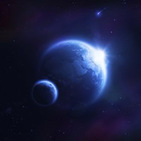 Earth and moon in outer space with rising sun and flying meteorites Fine Art Print