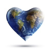 Heart-shaped planet Earth on a white background by Evgeny Kuklev - various sizes