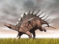 Kentrosaurus dinosaur running on the yellow grass by Elena Duvernay - various sizes