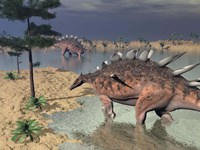 Kentrosaurus dinosaurs walking in the water next to sand and trees by Elena Duvernay - various sizes
