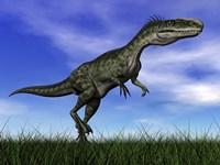 Monolophosaurus dinosaur walking in the grass by Elena Duvernay - various sizes