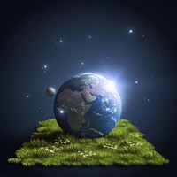 Planet Earth lying on a green lawn with moon and stars Fine Art Print