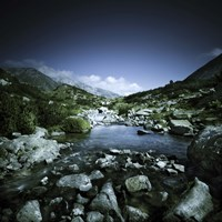 Small river flowing through big stones in Pirin National Park, Bulgaria Fine Art Print
