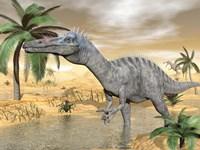 Suchomimus dinosaur walking in the water in desert landscape by Elena Duvernay - various sizes