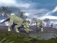 Three Styracosaurus dinosaurs drinking from a nearby lake by Elena Duvernay - various sizes