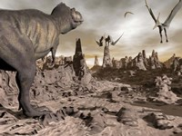 Tyrannosaurus Rex dinosaur and Pteranodons on a rocky desert landscape by Elena Duvernay - various sizes
