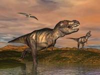Tyrannosaurus Rex dinosaurs with pteranodon bird flying above by Elena Duvernay - various sizes