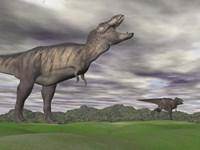 Tyrannosaurus Rex growling as a fellow T-Rex runs away by Elena Duvernay - various sizes