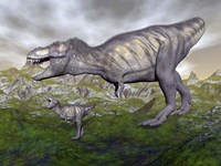 Tyrannosaurus rex mother and offspring by Elena Duvernay - various sizes