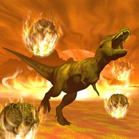 Tyrannosaurus Rex struggles to escape from a meteorite crash by Elena Duvernay - various sizes