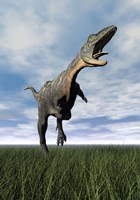 Aucasaurus dinosaur running on the green grass with mouth open by Elena Duvernay - various sizes