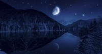 Moon rising over tranquil lake in the misty mountains against starry sky by Evgeny Kuklev - various sizes