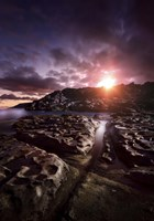Rocky shore and tranquil sea against cloudy sky at sunset, Sardinia, Italy by Evgeny Kuklev - various sizes