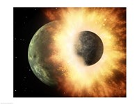 Concept  of our moon slamming at great speed into a body the size of Mercury - various sizes