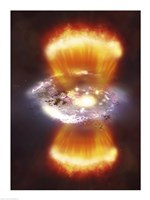 Artist concept of a galaxy inside of a glowing hydrogen blob - various sizes