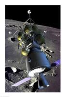 Spaceship orbiting the moon - various sizes