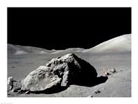 Astronaut standing near a rock on the moon, Apollo 17 Fine Art Print