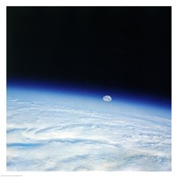 Outer space shot of storm system in early stage of formation with moon in background - various sizes - $44.99