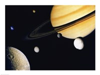 Saturn and its Satellites.  Clockwise from right: Tethys, Mimas, Encleladus, Dione, Rhea & Titan Fine Art Print