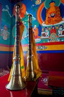 Ceremonial horns at Shey Palace, Ledakh, India Fine Art Print