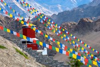Strings of prayer flags at Thiksey Monasterym Leh, Ladakh, India Fine Art Print