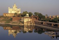 Temple Reflection and Locals, Rajasthan, India Fine Art Print