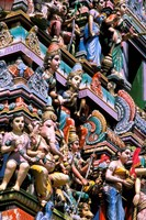 Hindu Figurines on Temple, Bangalore, India Fine Art Print