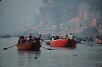 Boats in the Ganges River, Varanasi, India Fine Art Print