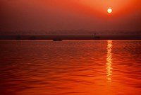 Sunset over the Ganges River in Varanasi, India Fine Art Print