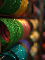 Bangles are stacked up at a store in Bangalore, Karnataka, India, Fine Art Print
