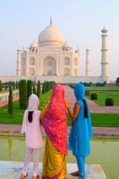 Hindu Women with Veils in the Taj Mahal, Agra, India Fine Art Print
