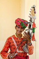 Young Man in Playing Old Fashioned Instrument Called a Sarangi, Agra, India by Bill Bachmann - various sizes