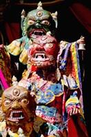 Buddhist Monks in costume, Chemrey Monastery, Ladakh, India Fine Art Print