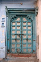 Blue-painted door, Jojawar, Rajasthan, India Fine Art Print