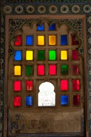 Brightly colored glass window, City Palace, Udaipur, Rajasthan, India. Fine Art Print