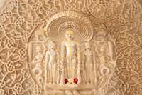 Carving on the wall, Jain Temple, Ranakpur, Rajasthan, India. Fine Art Print