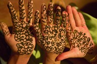 Woman's Palm Decorated in Henna, Jaipur, Rajasthan, India by Keren Su - various sizes