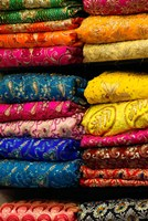 Colorful Sari Shop in Old Delhi market, Delhi, India by Kymri Wilt - various sizes