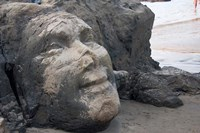 Famous Face of Shiva on the Rock on Vagator Beach, Goa, India Fine Art Print