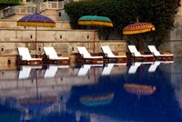 Outdoor swimming pool at Oberoi Amarvilas hotel, Agra, India by Kymri Wilt - various sizes - $32.99