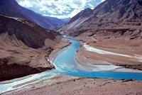 India, Ladakh, Indus and Zanskar Rivers merge Fine Art Print