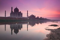 Taj Mahal From Along the Yamuna River at Dusk, India Fine Art Print