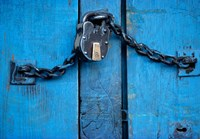India, Ladakh, Kargil, Padlock on blue door Fine Art Print